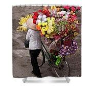 Hanoi Flowers 01 Shower Curtain