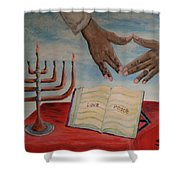 Hanukkah First Night Shower Curtain