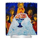 Hanukkah Menorah Shower Curtain
