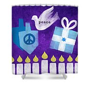Hanukkah Peace Shower Curtain by Linda Woods