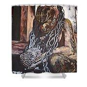 Hanuman In Chains Shower Curtain