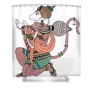 Hanuman Shower Curtain by Kruti Shah