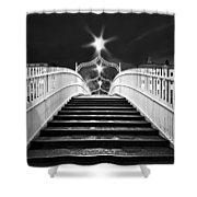 Ha'penny Bridge Steps - Dublin - Black And White Shower Curtain