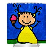 Happi Arte 3 - Little Girl Ice Cream Cone Art Shower Curtain