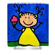 Happi Arte 3 - Little Girl Ice Cream Cone Art Shower Curtain by Sharon Cummings