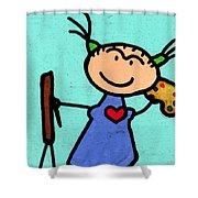 Happi Arte 4 - Frida Kahlo Artist Shower Curtain by Sharon Cummings