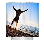 Happiness In The Beach Scenery Shower Curtain