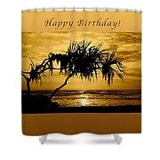 Happy Birthday Golden Sunrise Shower Curtain