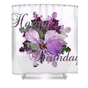 Happy Birthday Greeting Card - Purple Luneria Shower Curtain