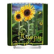 Happy Birthday Happy Sunflowers Couple Shower Curtain