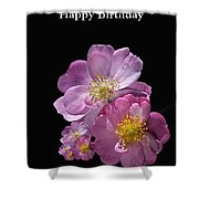 Happy Birthday Pink Roses Shower Curtain