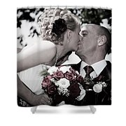 Happy Bride And Groom Kissing Shower Curtain
