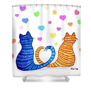Happy Cats And Hearts Shower Curtain