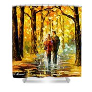 Happy Couple - Palette Knife Oil Painting On Canvas By Leonid Afremov Shower Curtain