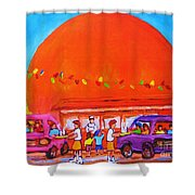 Happy Days At The Big  Orange Shower Curtain
