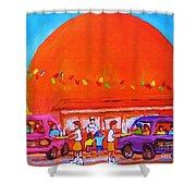 Happy Days At The Big  Orange Shower Curtain