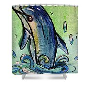 Happy Dolphin  Shower Curtain