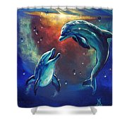 Happy Dolphins Shower Curtain by Marco Antonio Aguilar