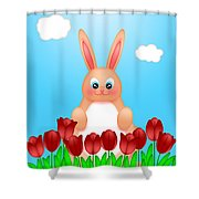 Happy Easter Bunny Rabbit On Field Of Tulips Flowers Shower Curtain
