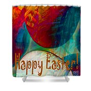 Happy Easter Greeting Card Shower Curtain