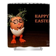 Happy Easter Greeting Card. Funny Eggmen Series Shower Curtain
