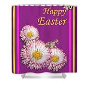 Happy Easter Hiding Bunny Shower Curtain