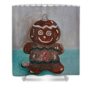 Happy Gingerbread Man Shower Curtain