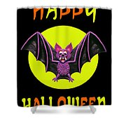 Happy Halloween Bat Shower Curtain