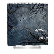 Happy Halloween - Ghost In Trees Shower Curtain
