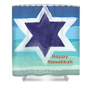 Happy Hanukkah Card Shower Curtain by Linda Woods