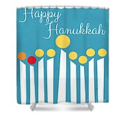 Happy Hanukkah Menorah Card Shower Curtain