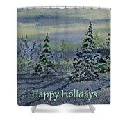 Happy Holidays - Snowy Winter Evening Shower Curtain