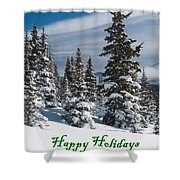 Happy Holidays - Winter Trees And Rising Clouds Shower Curtain