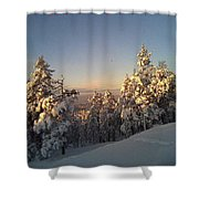 Happy Holidays In Deep Snow  Shower Curtain