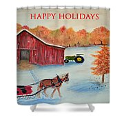 Happy Holidays Card Shower Curtain