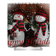 Happy Holidays - Christmas - Snowman Collection - Greeting Cards Shower Curtain