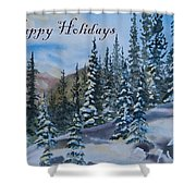 Happy Holidays Forest And Mountains Shower Curtain