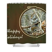 Happy Holidays Greeting Card - Gray Squirrel Shower Curtain