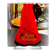 Happy Holidays Greeting Shower Curtain