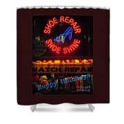Happy Holidays - Neon Of New York - Shoe Repair - Holiday And Christmas Card Shower Curtain