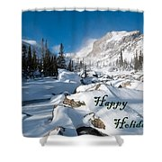 Happy Holidays Snowy Mountain Scene Shower Curtain