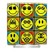Happy Logos Shower Curtain