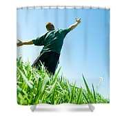 Happy Man On The Summer Field Shower Curtain