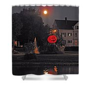 Happy Pumpkin At The Pond Shower Curtain