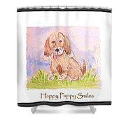 Happy Puppy Smiles Shower Curtain