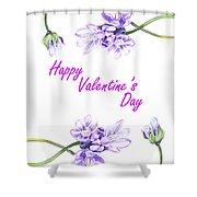 Happy Purple Valentine Shower Curtain