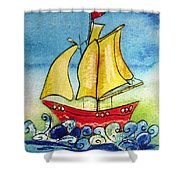 Happy Sailing Ship  Shower Curtain