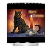 Happy Samhain Kitten And Candle Shower Curtain