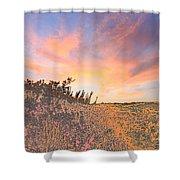 Happy Sunset Shower Curtain