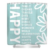 Happy Things Blue Shower Curtain